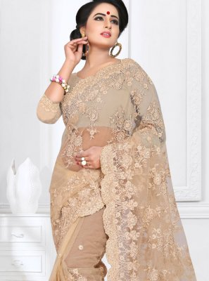 Net Beige Embroidered Classic Saree