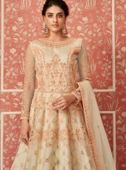 Net Beige Embroidered Floor Length Anarkali Suit