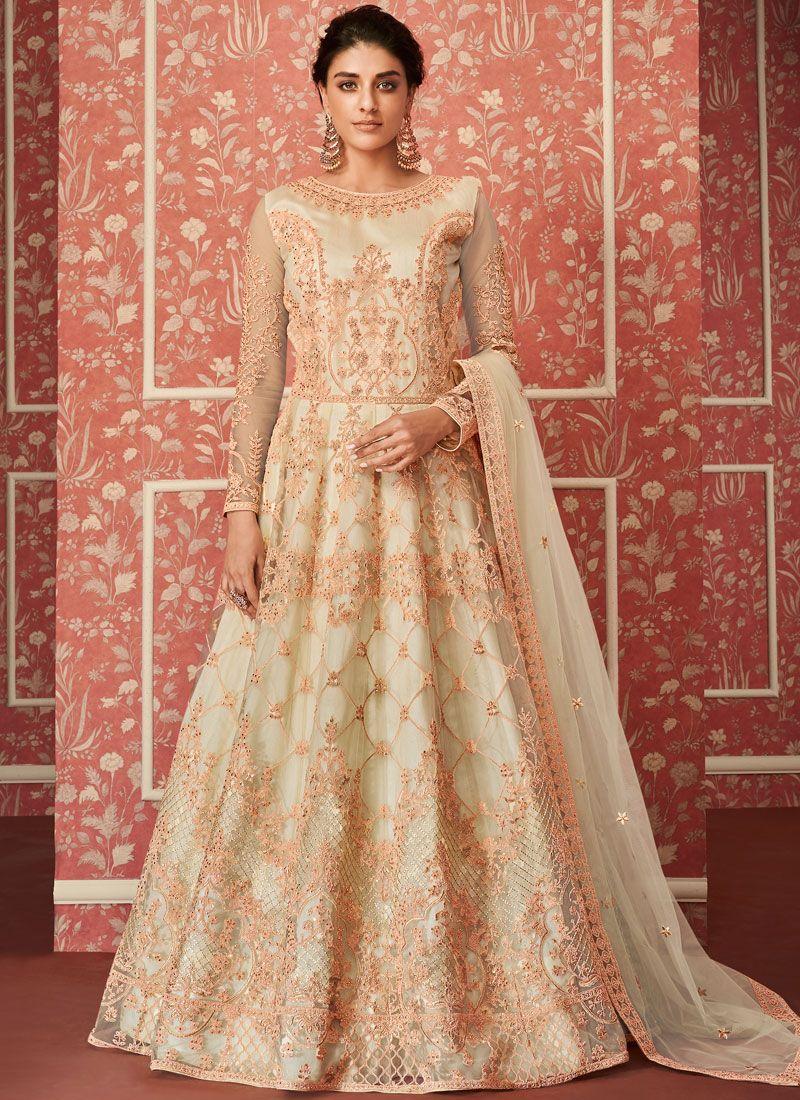 Net Beige Embroidered Floor Length Anarkali Suit