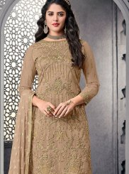 Net Beige Embroidered Pant Style Suit