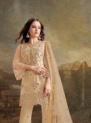 Net Beige Resham Trendy Pakistani Salwar Kameez