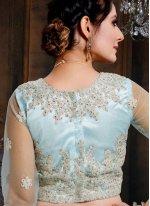 Net Blue Embroidered Lehenga Choli