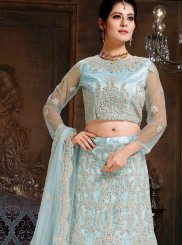Net Blue Embroidered Lehenga Choli