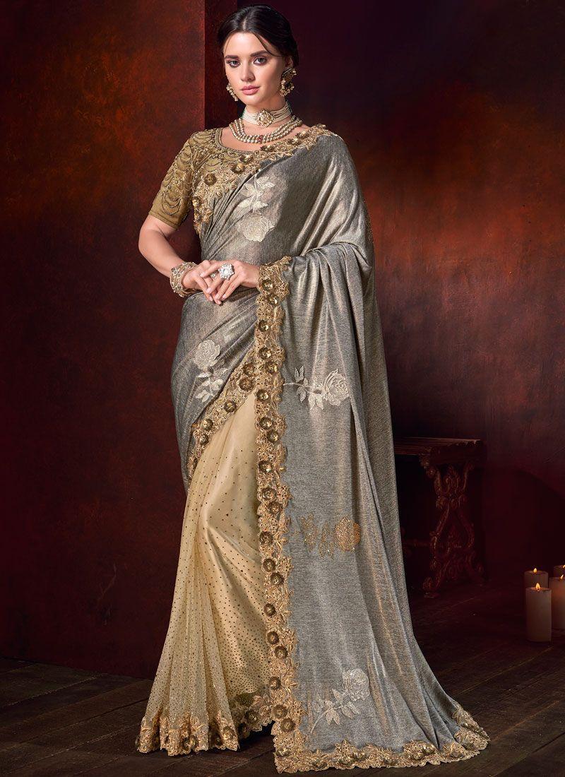 Net Bridal Designer Half N Half Saree