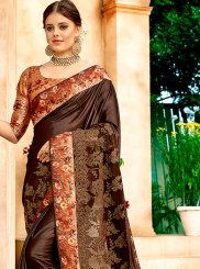 Net Brown Embroidered Classic Designer Saree
