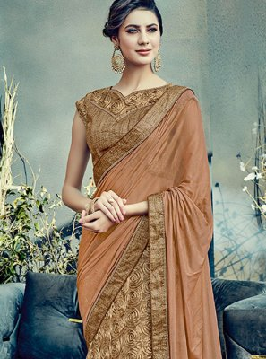 Net Brown Embroidered Work Lehenga Saree