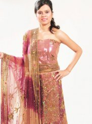 Net Brown Lehenga Choli