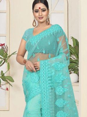 Net Classic Designer Saree in Turquoise