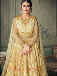 Net Cream Embroidered Designer Lehenga Choli