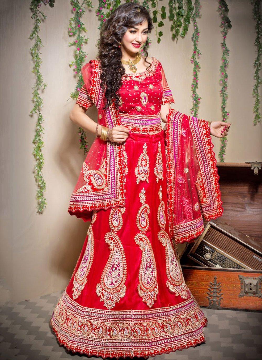 Net Designer Lehenga Choli in Red