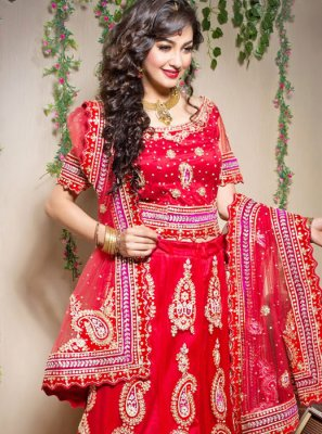 Net Designer Lehenga Choli in Red