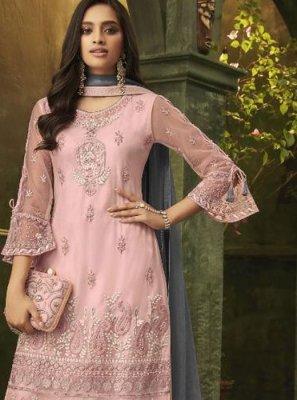 Net Designer Palazzo Salwar Suit in Pink
