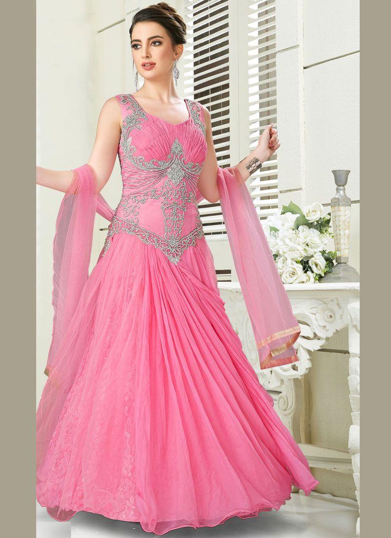 Net Desinger Anarkali Suit in Pink