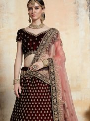 Net Embroidered A Line Lehenga Choli in Maroon