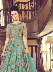 Net Embroidered Anarkali Suit in Sea Green