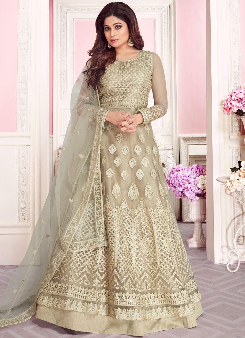Net Embroidered Beige Anarkali Salwar Kameez