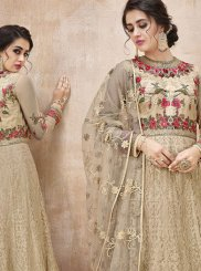 Net Embroidered Beige Floor Length Anarkali Suit