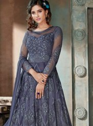 Net Embroidered Blue Anarkali Salwar Kameez