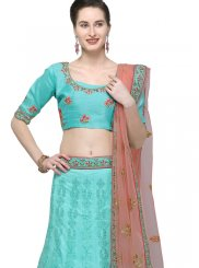 Net Embroidered Blue Designer Lehenga Choli
