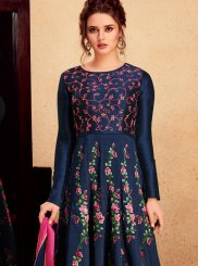 Net Embroidered Blue Floor Length Anarkali Suit