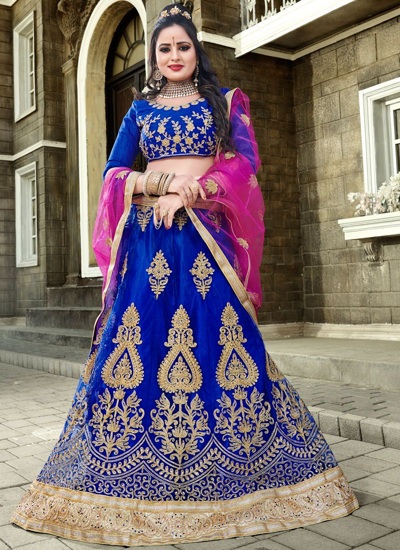 Net Embroidered Blue Lehenga Choli