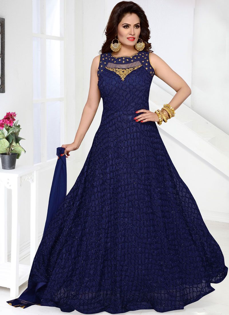 Net Embroidered Blue Readymade Anarkali Suit