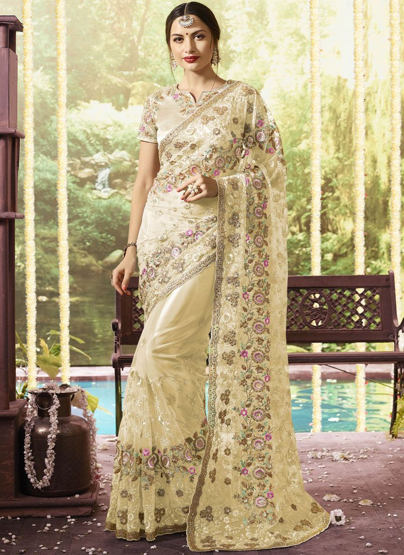Net Embroidered Classic Designer Saree in Beige