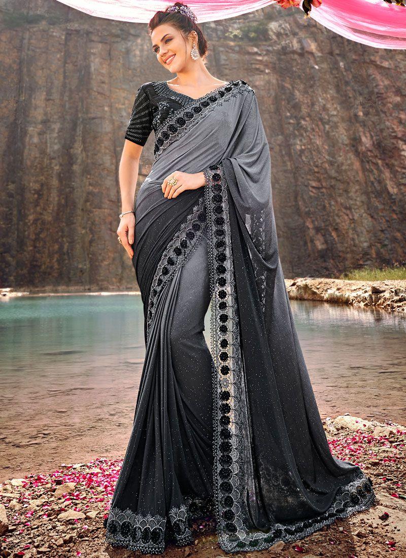 Net Embroidered Classic Designer Saree in Grey