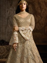 Net Embroidered Cream Anarkali Salwar Kameez