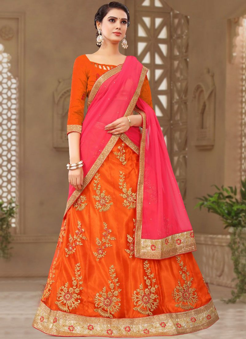 Net Embroidered Designer Lehenga Choli in Orange