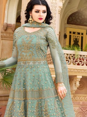 Net Embroidered Designer Lehenga Choli in Sea Green