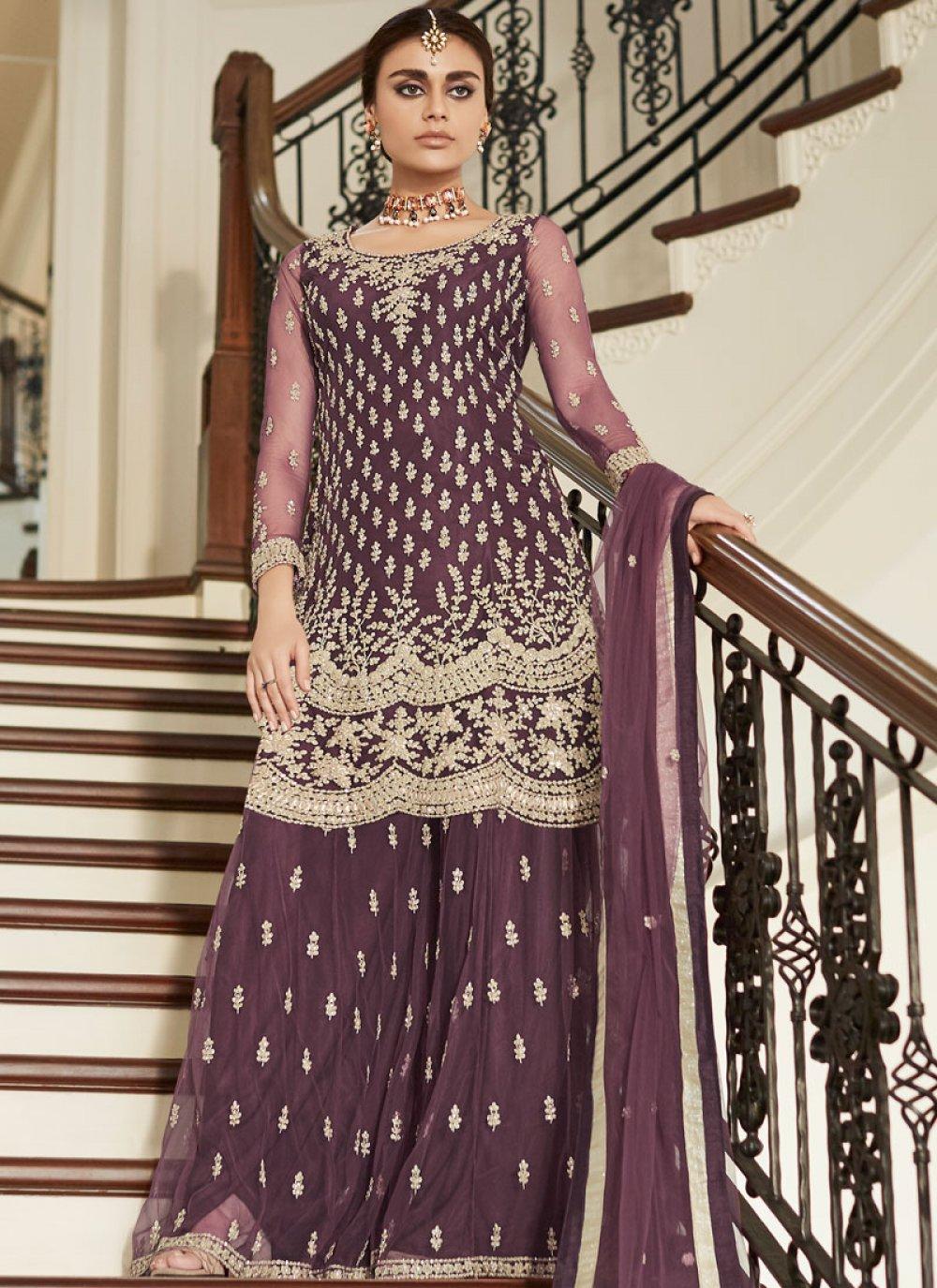 Net Embroidered Designer Pakistani Suit in Mauve