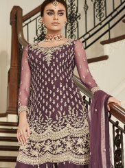 Net Embroidered Designer Pakistani Suit in Mauve