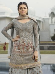 Net Embroidered Designer Palazzo Salwar Suit