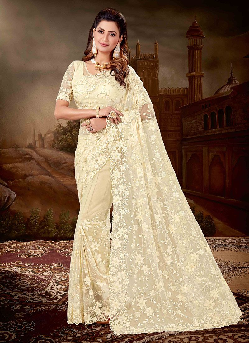 Net Embroidered Designer Saree in Cream