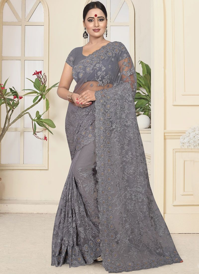 Net Embroidered Designer Traditional Saree in Grey