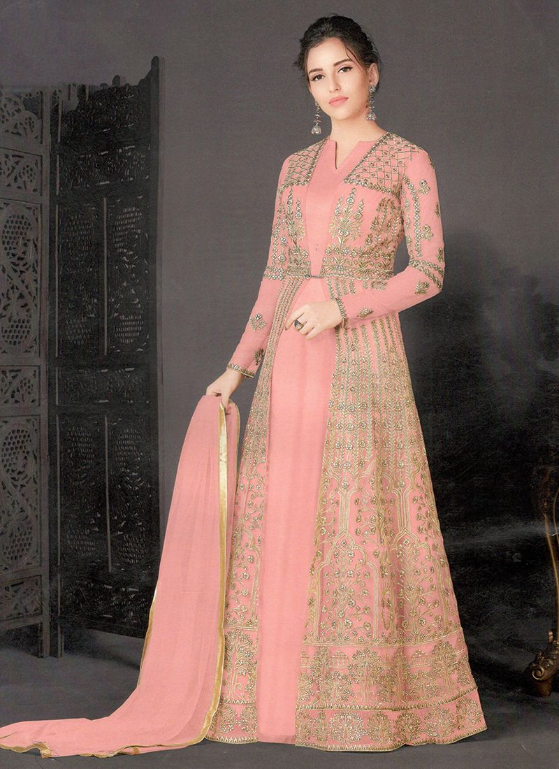 Net Embroidered Floor Length Anarkali Suit in Pink