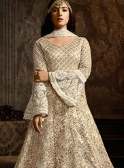 Net Embroidered Floor Length Anarkali Suit in White