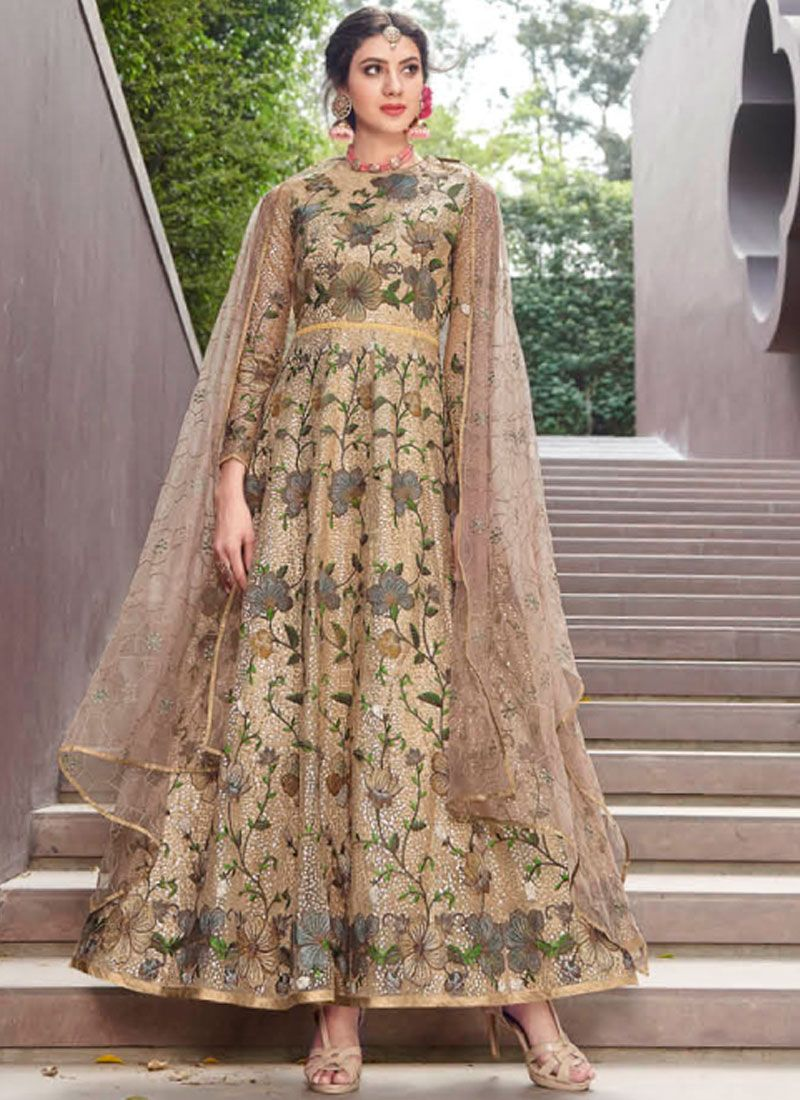 Net Embroidered Gold Designer Gown