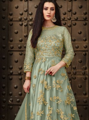 Net Embroidered Green Anarkali Salwar Kameez