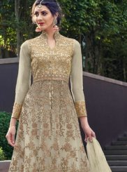 Net Embroidered Green Trendy Gown
