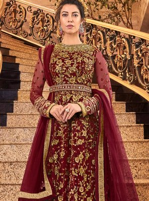 Net Embroidered Maroon Anarkali Salwar Kameez