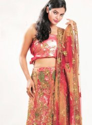 Net Embroidered Multi Colour Lehenga Choli