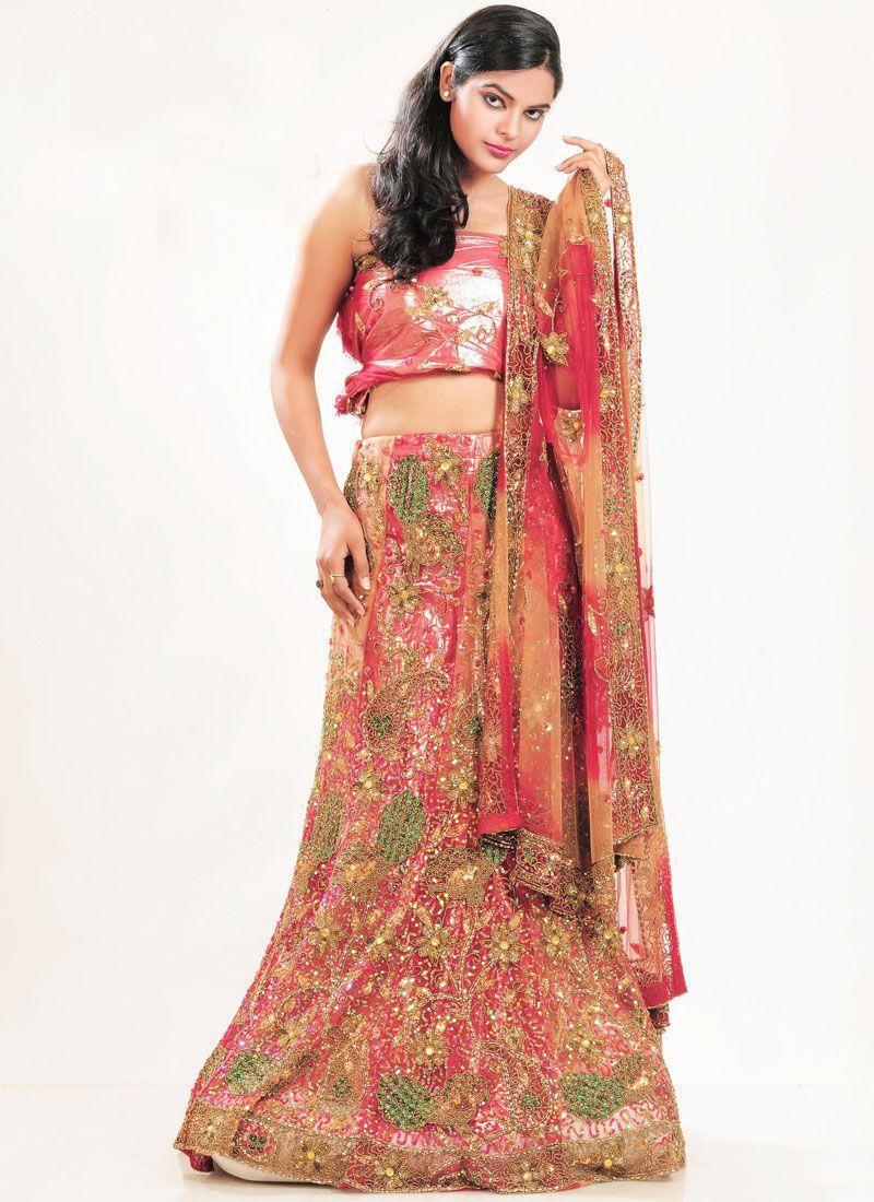 Net Embroidered Multi Colour Lehenga Choli