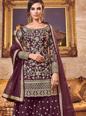 Net Embroidered Palazzo Salwar Kameez in Rust