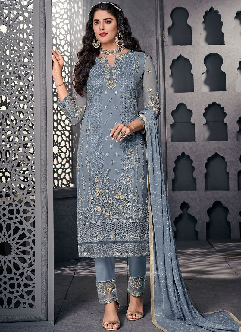 Net Embroidered Pant Style Suit in Blue