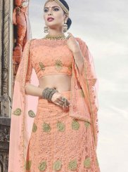 Net Embroidered Peach Lehenga Choli