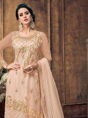 Net Embroidered Peach Pakistani Suit
