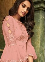 Net Embroidered Pink Pant Style Suit