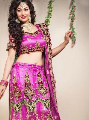 Net Embroidered Pink Trendy Lehenga Choli